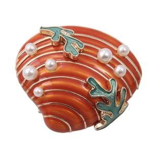 Pearl Thick Enamel Seashell Brooch